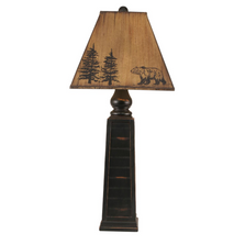 Distressed Black Pyramid Table Lamp with Bear Shade | Coast Lamp | 12-R19A