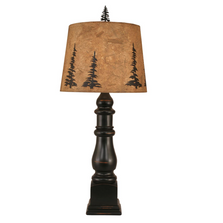 Distressed Black Country Squire Table Lamp with Tree Shade | Coast Lamp | 12-R24B