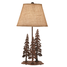 3 Pines Rust Iron Table Lamp with Burlap Shade | Coast Lamp | 12-R27D