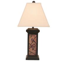 Chickadee Scene Distressed Black Square Table Lamp | Coast Lamp | 12-R31D