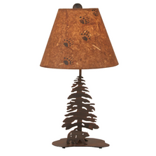 Bear and Pine Tree Burnt Sienna Iron Table Lamp | Coast Lamp | 12-R39B