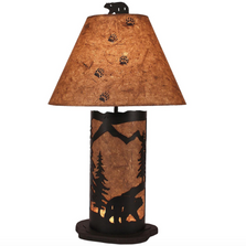 Kodiak Bear Scene Iron Table Lamp with Nightlight | Coast Lamp | 15-R6A
