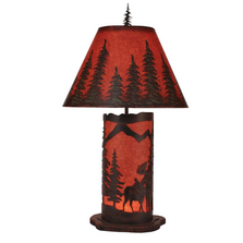 Moose Scene Burnt Sienna Iron Table Lamp with Nightlight | Coast Lamp | 15-R6B