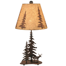 Deer and 2 Pine Burnt Sienna Iron Accent Lamp | Coast Lamp | 15-R9E