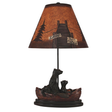 Bear Family in Canoe Antique Riverwoods Table Lamp | Coast Lamp | 15-R14C