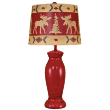 Brick Red Table Lamp with Moose Shade | Coast Lamp | 15-R16C