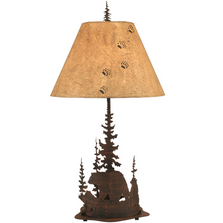 Bear Pine Scene Burnt Sienna Iron Table Lamp | Coast Lamp | 15-R31A