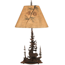 Deer Pine Scene Burnt Sienna Iron Table Lamp | Coast Lamp | 15-R31E