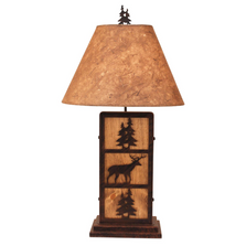 Deer and Tree Burnt Sienna Wood and Iron Table Lamp | Coast Lamp | 17-R31D