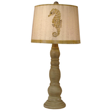 Cottage Shoreline Candlestick Table Lamp with Seahorse Shade | Coast Lamp | 12-B20C