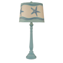Weathered Turquoise Sea Buffet Lamp with Starfish Shade | Coast Lamp | 12-B20D