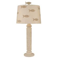 Nude Two-Tone Basketweave Table Lamp with School of Fish Shade | Coast Lamp | 12-B21D
