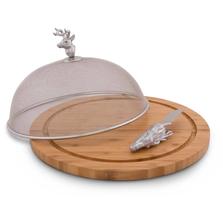 Elk Head 3 Piece Picnic Cheese Board Spreader   Arthur Court Designs
