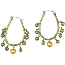 String of Beads Hoop Drop Earrings | Michael Michaud Jewelry | SS4982bz