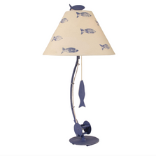 Weathered Jewel Fishing Pole Iron Table Lamp with School of Fish Shade | Coast Lamp | 12-B24A