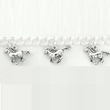Running Horse Sterling Silver Charm Bracelet | Nature Jewelry | BR759