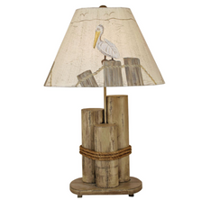 Distressed Grey Dock Pilings Table Lamp with Pelican Shade | Coast Lamp | 12-B25A