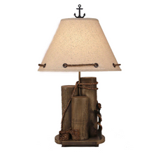 Antique Grey Dock Pilings with Tarnished Anchor Table Lamp | Coast Lamp | 14-B6E