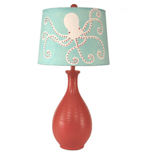 Coral Teardrop Table Lamp with Octopus Art Shade | Coast Lamp | 16-B9C
