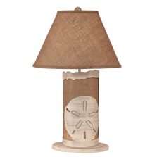 Sand Dollar Cottage Burlap Table Lamp with Nightlight | Coast Lamp | 16-B12A