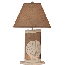 Shell Cottage Burlap Table Lamp with Nightlight | Coast Lamp | 16-B12B