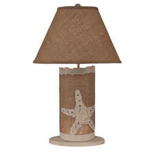 Starfish Cottage Burlap Table Lamp with Nightlight | Coast Lamp | 16-B12C