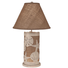 Shell Scene Cottage Burlap Table Lamp with Nightlight | Coast Lamp | 16-B12D