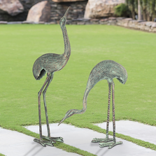 "Cranes Garden Sculpture Set of 2 ""Foraging Cranes"" 