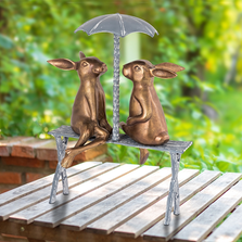 Romantic Rabbit Pair on Bench Outdoor Sculpture | SPI Home