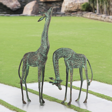 "Giraffe Garden Sculpture Pair ""Treetopper"" 