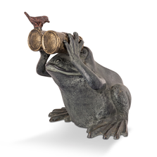 Frog Spectator with Bird Garden Sculpture | SPI Home