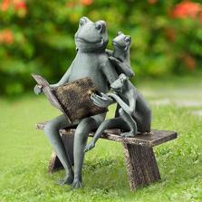 Reading Frog Family Garden Sculpture | SPI Home