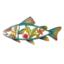 Flower Fish Painted Metal Wall Art | Le Primitif