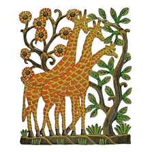 Giraffes Painted Metal Wall Art | Le Primitif