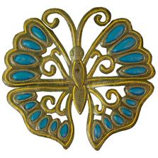 Butterfly Topaz Painted Metal Wall Art | Le Primitif