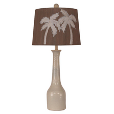 Cottage Slender Pottery Lamp with Palm Tree Shade | Coast Lamp | 17-B52A