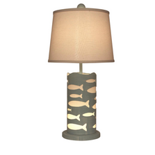 Atlantic Grey School of Fish Round Accent Lamp with Nightlight | Coast Lamp | 17-B80E