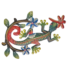 Gecko and Dragonfly Painted Metal Wall Art | Le Primitif