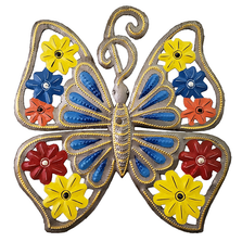 Blue Butterfly Painted Metal Wall Art | Le Premitif