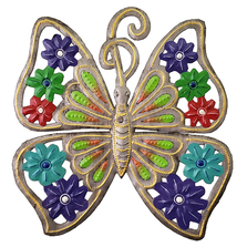 Green Butterfly Painted Metal Wall Art | Le Premitif