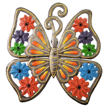 Orange Butterfly Painted Metal Wall Art | Le Premitif