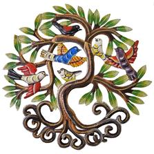 Flocking Bird Tree Painted Metal Wall Art | Le Primitif