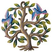 Tree with Two Colorful Birds Painted Metal Wall Art | Le Primitif