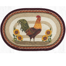 Sunflower Rooster Oval Braided Rug | Capitol Earth Rugs | OP-471
