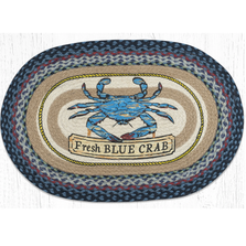 Fresh Blue Crab Oval Braided Rug | Capitol Earth Rugs | OP-362