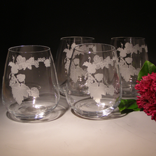 Grapes Stemless Wine Glass Set of Four | Evergreen Crystal | TR51623