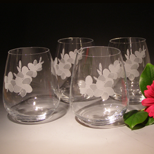 Plumeria Stemless Wine Glass Set of Four | Evergreen Crystal | TR06623