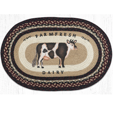 Farmhouse Cow Oval Braided Rug | Capitol Earth Rugs | OP-344