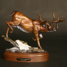 "Whitetail Deer Bronze Sculpture ""Down Wind"" 