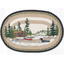 Loon On Lake Oval Braided Rug | Capitol Earth Rugs | OP-116